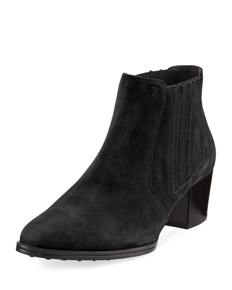 Suede Pull-On Ankle Bootie