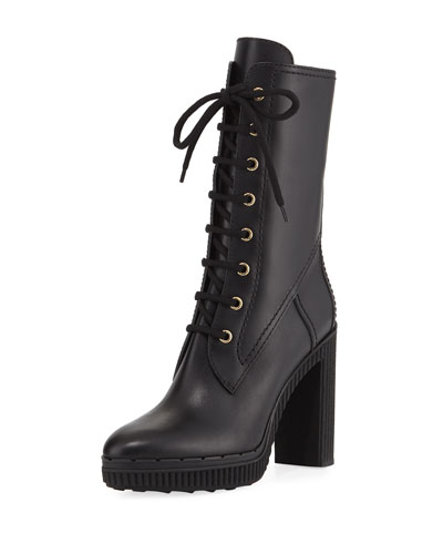 Leather Lace-Up Block-Heel Hiking Boot