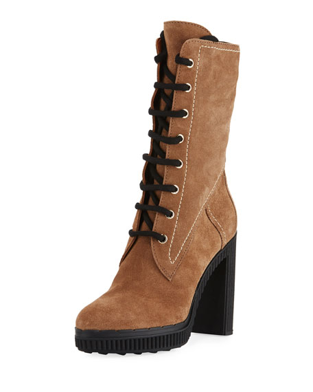 Lace-Up Suede Block-Heel Hiking Boot