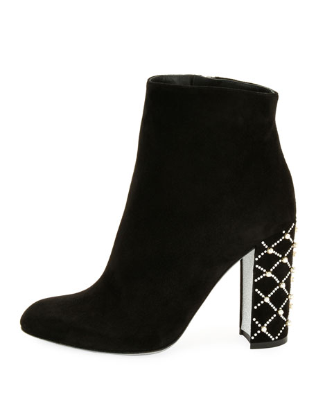 Suede Pearly-Heel Ankle Boot