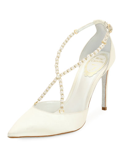 Pearly Satin Crisscross Pump, White