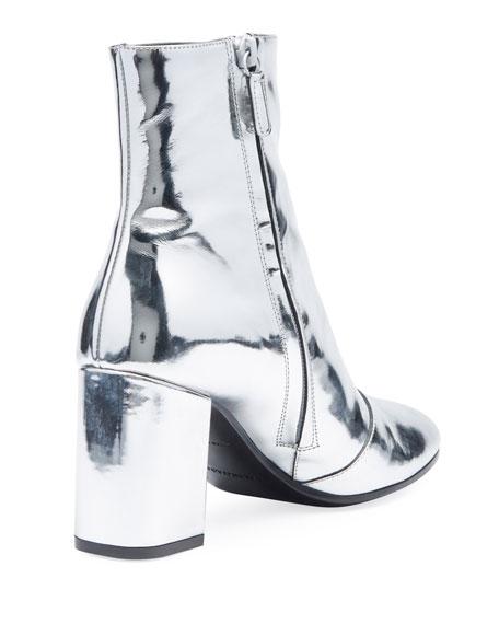 Metallic Leather Block-Heel Bootie
