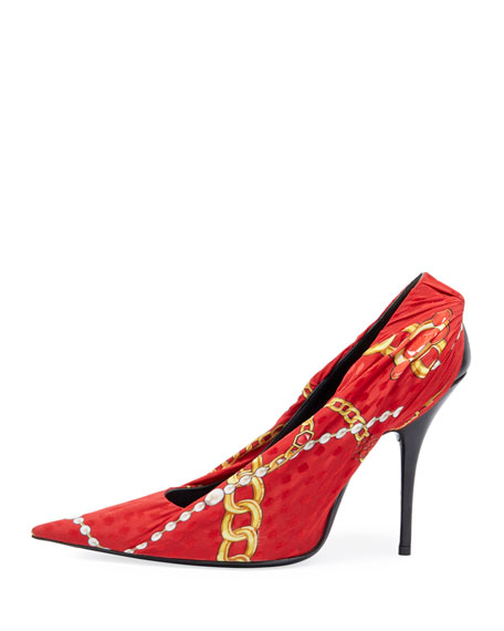 Ruched Jewel-Print Jersey Pump