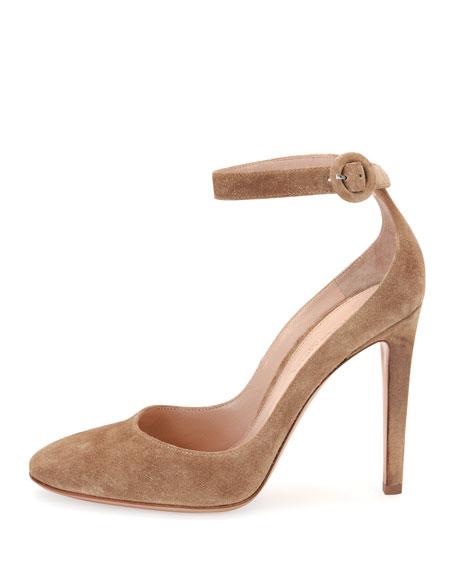 Virna Suede Ankle-Strap Pump