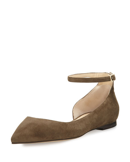 Lucy Suede Half-d'Orsay Flat, Moss