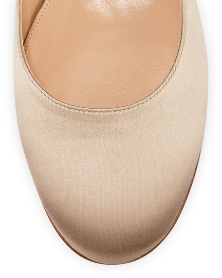 Satin Ankle-Wrap Ballerina Flat