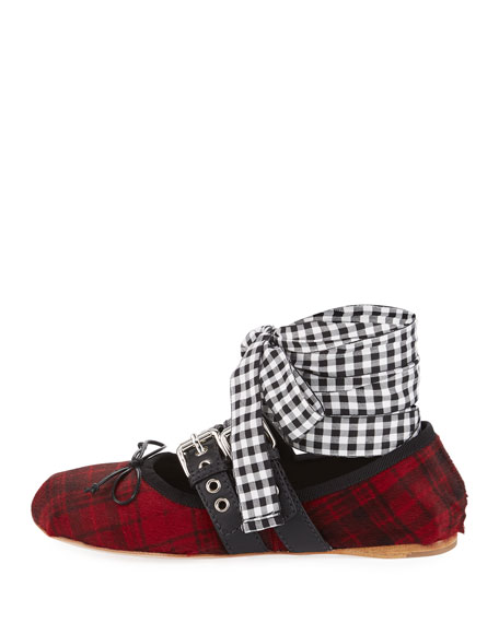 Plaid Calf Hair Ankle-Wrap Flat