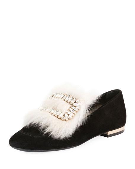 ROGER VIVIER Polly Fur-Trim Buckle Loafer in Black/White