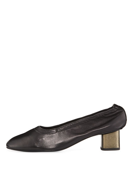 Pixie Leather Block-Heel Pump