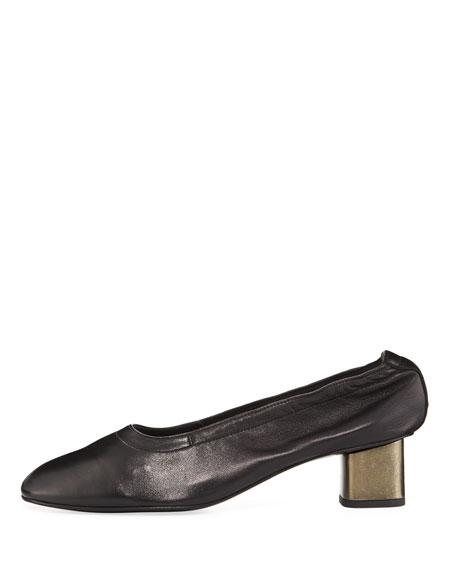 Pixie Leather Block-Heel Pump