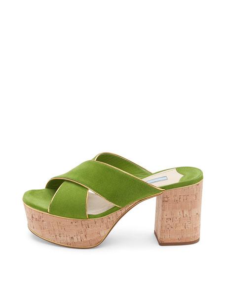 Suede Platform Cork-Heel Mule Sandal