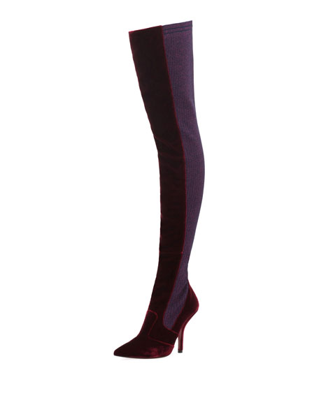ROCKOKO VELVET AND METALLIC RIBBED-KNIT THIGH BOOTS