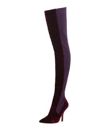 Velvet Over-the-Knee Knit Boot