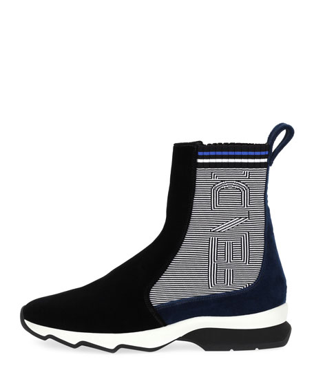 Suede & Knit Sneaker Boot
