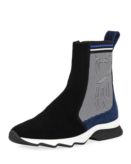 Fendi Suede \u0026 Knit Sneaker Boot