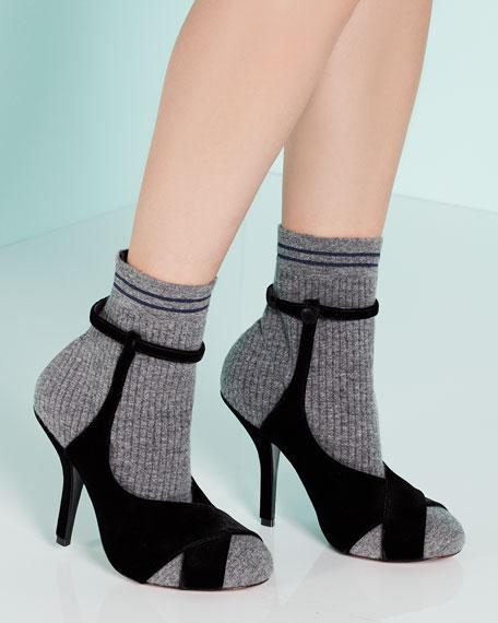Suede & Knit Sock Bootie