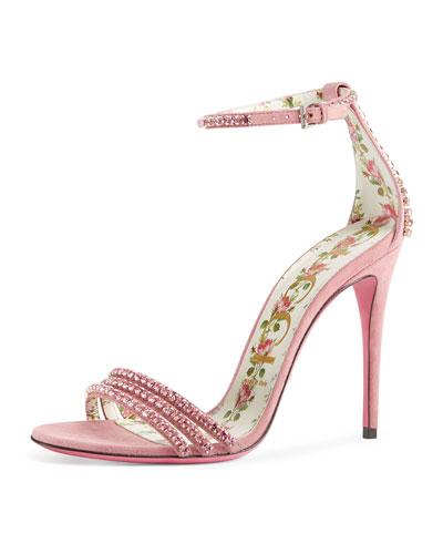 Ilse Crystal-Embellished Ankle-Wrap Sandal