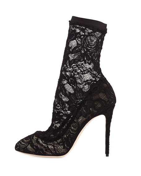 Lace Stiletto Sock Bootie