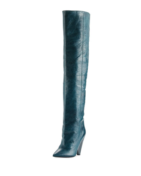 Image 1 of 1: Leather Cone-Heel Knee Boot