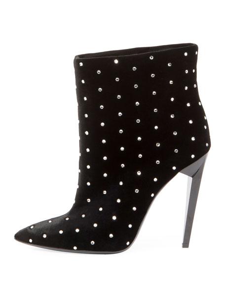Studded Velvet Ankle Bootie