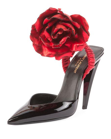 Patent Slingback Pump w/Rose Flower