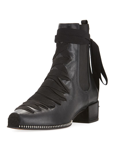 Leather Lace-Up Block-Heel Boot