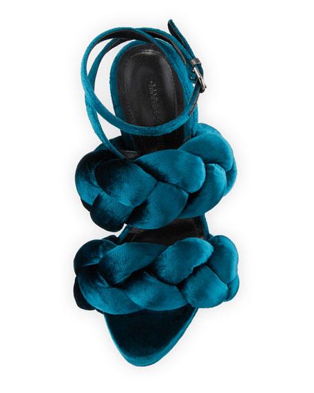 Braided Velvet Ankle-Strap Sandal