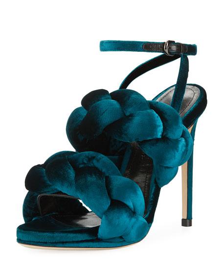 defe6dca6914 Marco De Vincenzo Braided Velvet Ankle-Strap Sandal