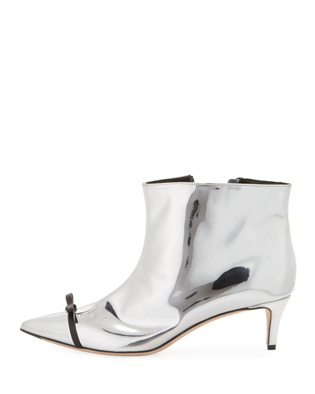 Metallic Point-Toe Bow Boot