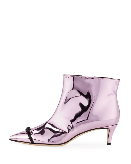 Bow-Trim Metallic Ankle Boot