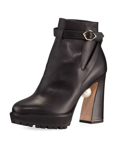 Annabel Pearly Leather Biker Boot