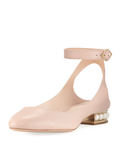 Lola leather Ankle-Wrap Ballerina Flat