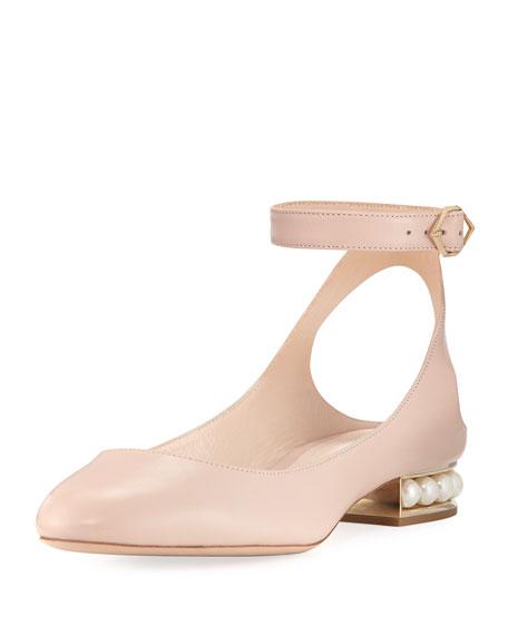 Nicholas Kirkwood Lola leather Ankle-Wrap Ballerina Flat