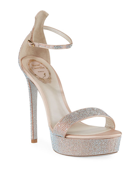 Rene Caovilla 130mm Crystal-Studded Satin Platform Sandals