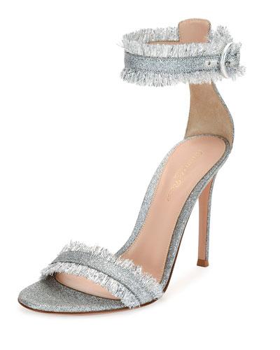Fringed Glitter Fabric Sandal, Silver