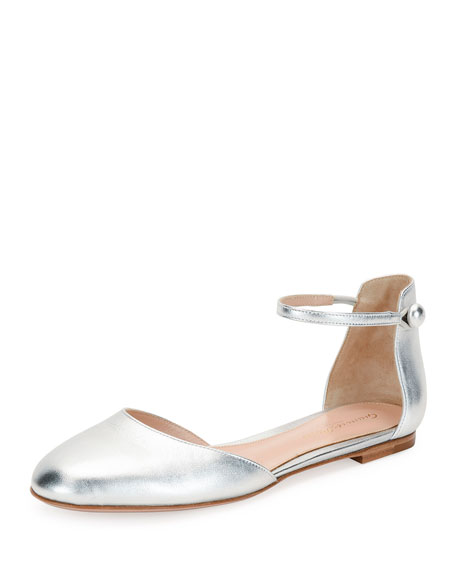 Leather Ankle-Strap d'Orsay Flat, Silver