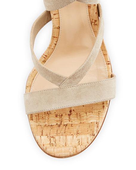 Janis Suede Leg-Wrap Sandal, Cashmere/Cork