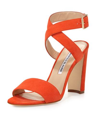 Tondala Suede Ankle-Wrap Sandal, Orange