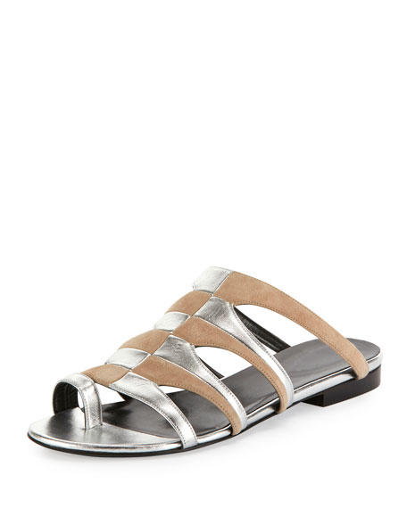 Parade Bicolor Toe-Ring Mule Sandal, Nude/Silver