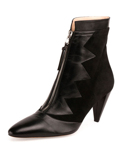 Fontana Zigzag Zip-Front Ankle Boot, Black