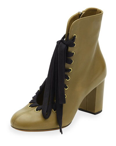 Lace-Up Leather Ankle Boot, Khaki Green
