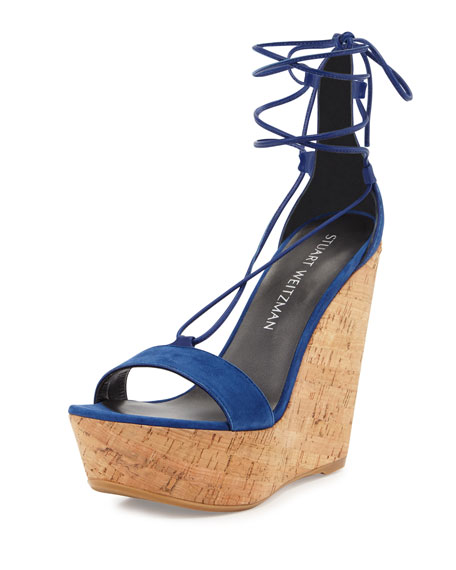 Wrap It Suede Lace-Up Wedge Sandal, Sapphire