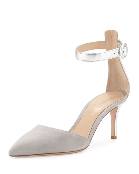 Two-Tone Ankle-Strap d'Orsay Pump, Silver