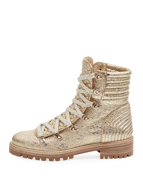 promo code cd8fe 83fd5 Mad Metallic Lace-Up Red Sole Boot