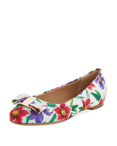 Floral-Print Grosgrain Ballerina Flat