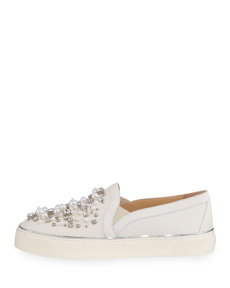Decor Pearl-Embellished Nubuck Sneaker