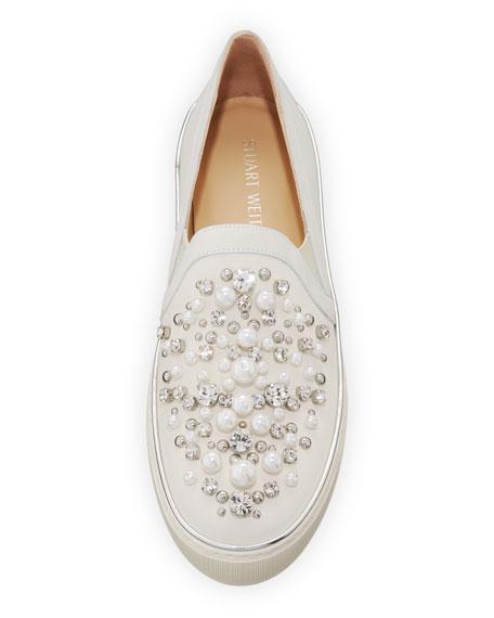 Decor Pearl-Embellished Nubuck Sneaker
