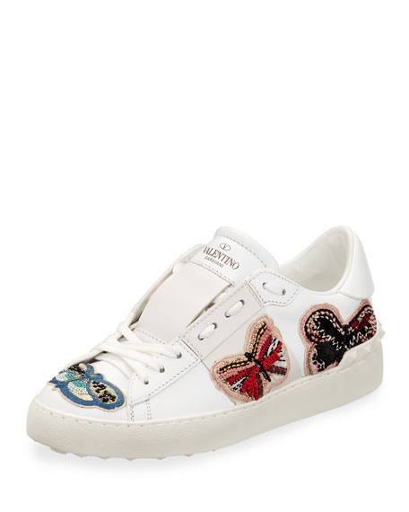 Open Butterfly-Embroidered Sneaker
