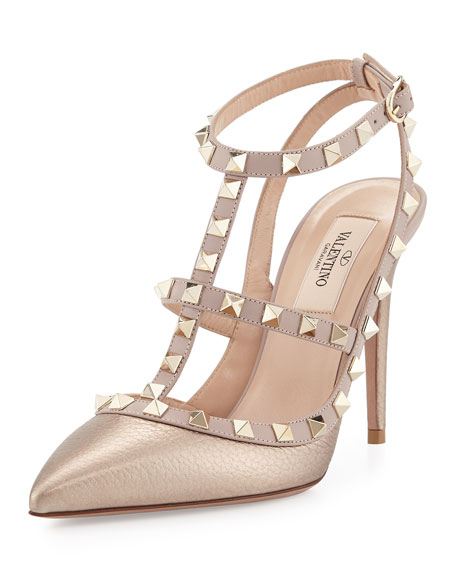 Image 1 of 1: Rockstud Metallic Leather T-Strap Pumps