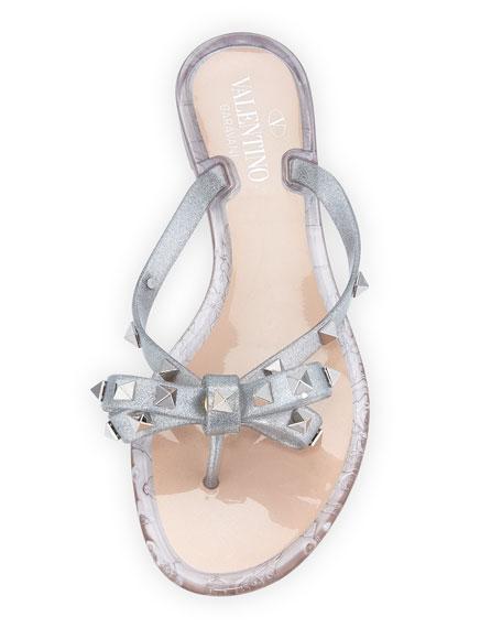 Rockstud Metallic Jelly Flat Thong Sandal